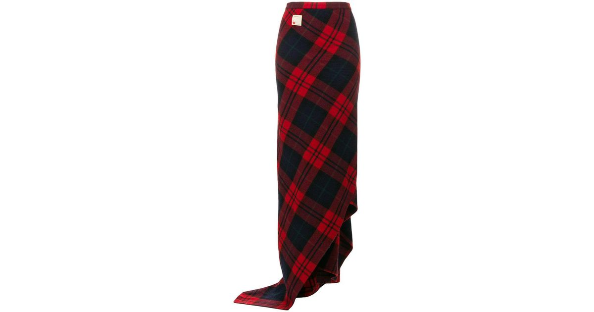 8a5dd26a51 DSquared² Tartan Maxi Skirt in Red - Lyst