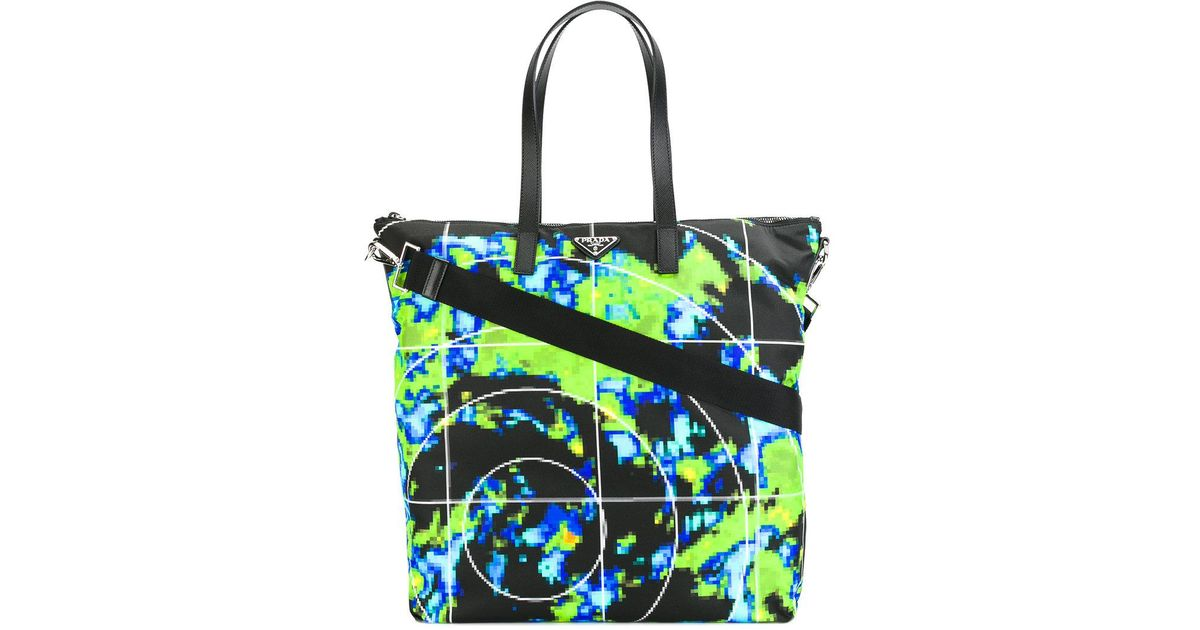 f2a88af47b0e ... new arrivals lyst prada graphic print tote bag men leather polyamide  one size in black for