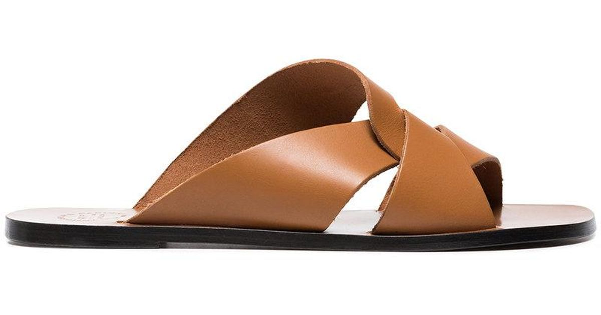 Atelier Atp Allai Cutout Brown Leather Sandals q4w6TvXv