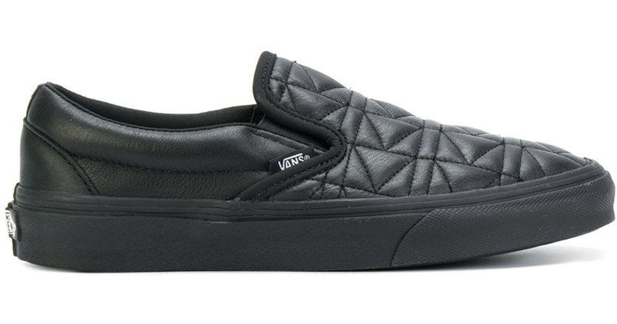 Vans Leather Quilted Slip On Sneakers