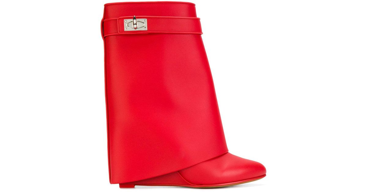 Lyst - Givenchy Shark Lock Boots in Red 585df602bd96