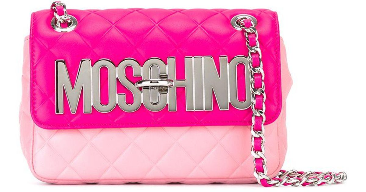 bccffc7565 Lyst - Moschino Logo Plaque Shoulder Bag in Pink