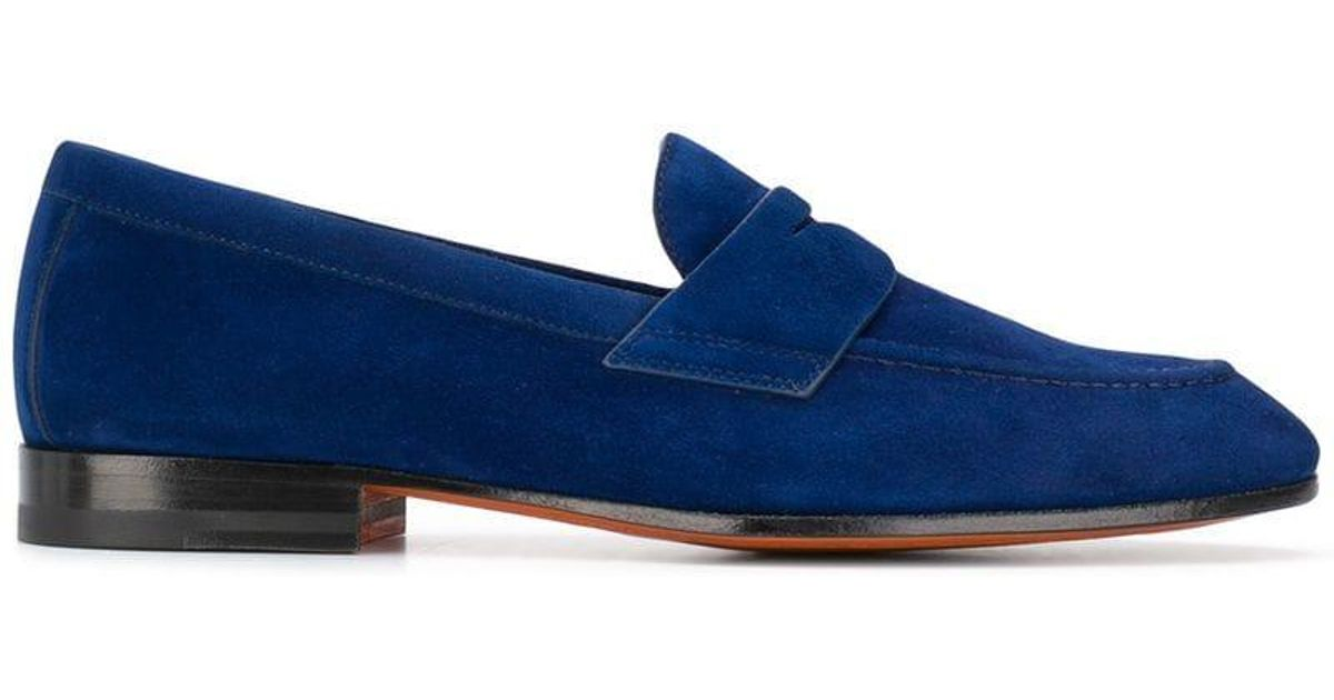 fd7c3889ffa Lyst - Santoni Classic Penny Loafers in Blue