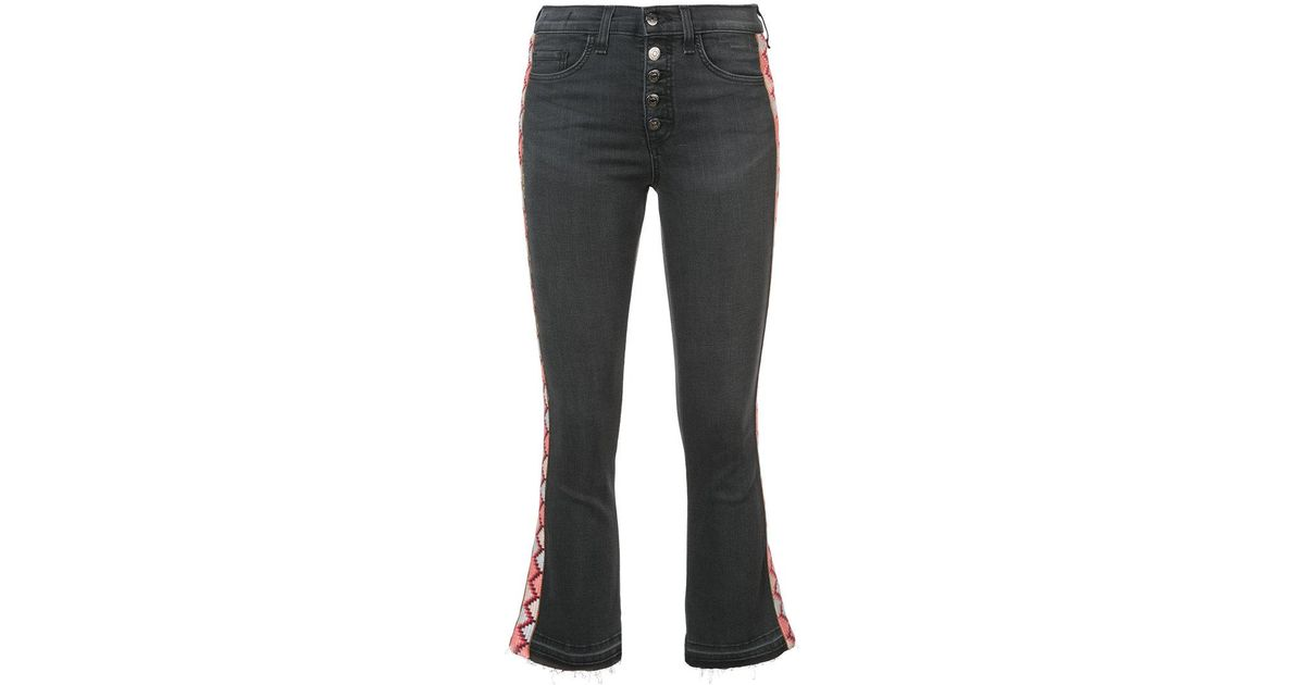 cropped jeans with embroidered side panels - Black Veronica Beard Manchester Cheap Finishline Buy Cheap Manchester BpmLgapB6