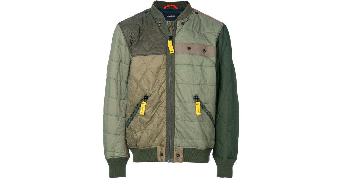 4427ff8e0 DIESEL Green Patchwork Bomber Jacket for men