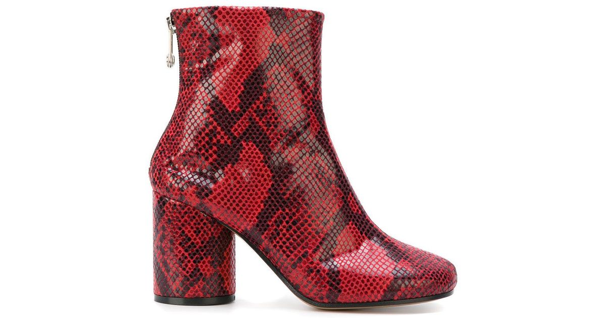 05a198d8964 Maison Margiela Red Snakeskin Effect Ankle Boots