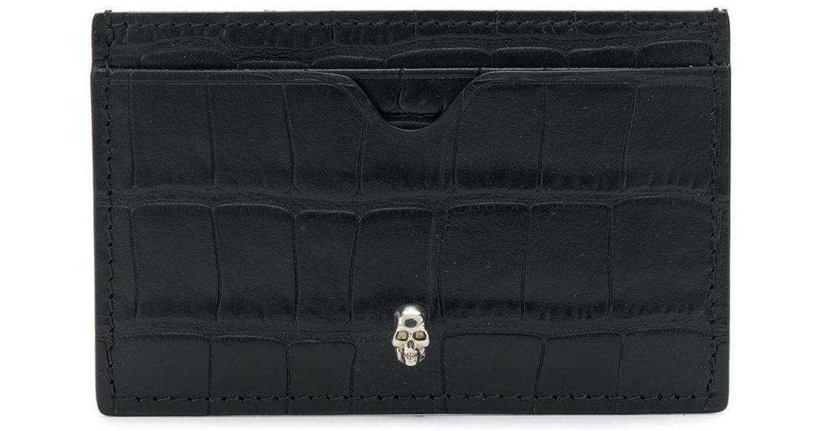 Lyst - Porte-cartes à effet peau de crocodile Alexander McQueen pour homme  en coloris Noir d3606c6d446