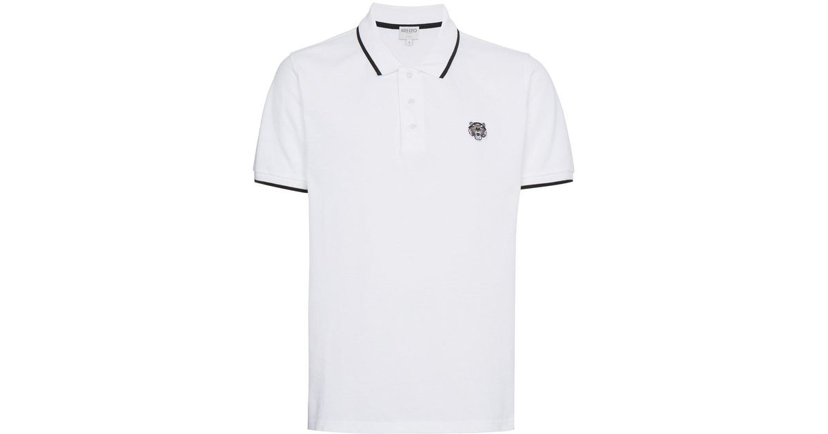 adc5b8b6a KENZO Tiger Logo Polo Shirt in White for Men - Save 4% - Lyst