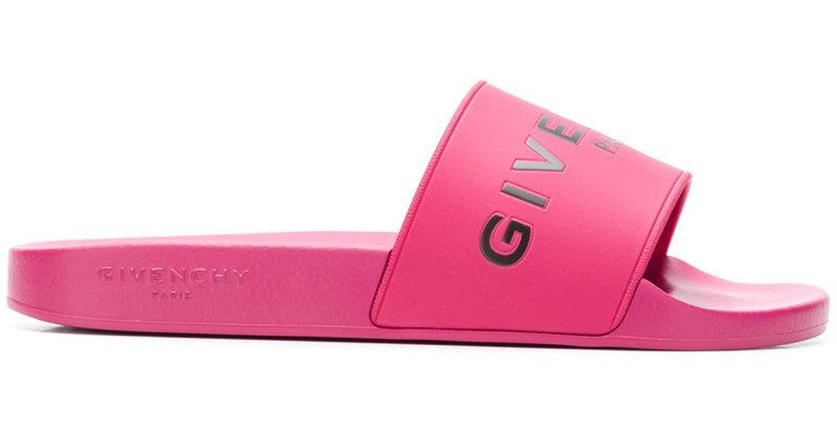 10ef127494ae Lyst - Givenchy Classic Logo Slides in Pink