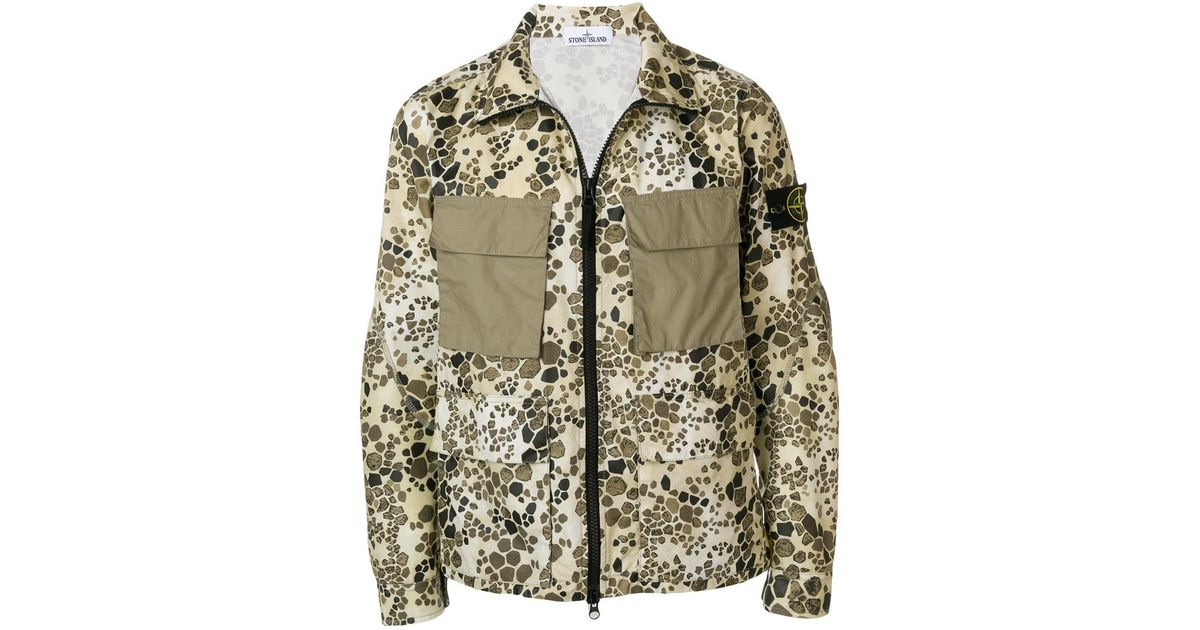 846c0791a55f5 Lyst - Stone Island Alligator Camouflage Print Jacket in Brown for Men