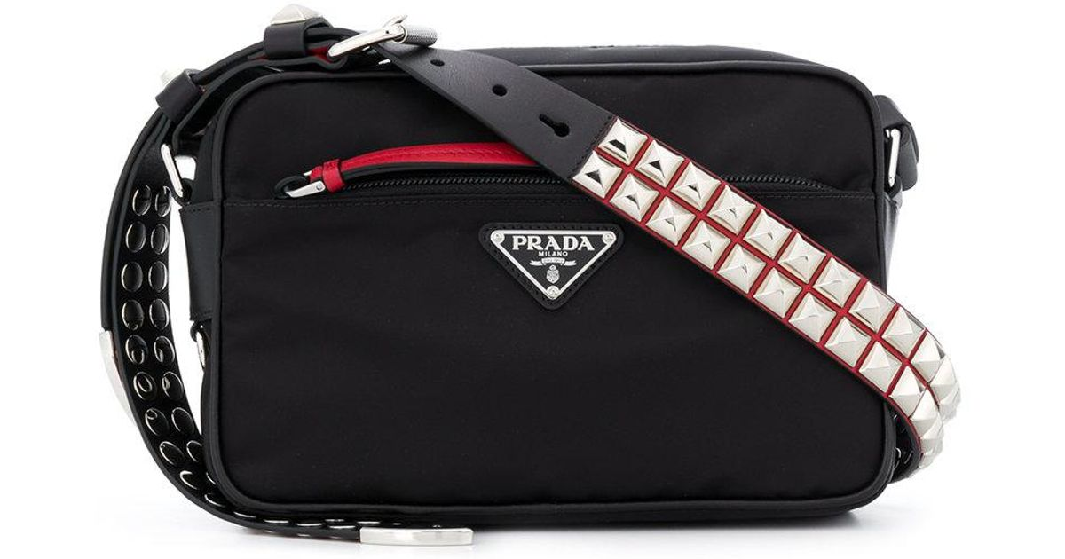 168c8dbd0293 Lyst - Prada Studded Strap Crossbody Bag in Black