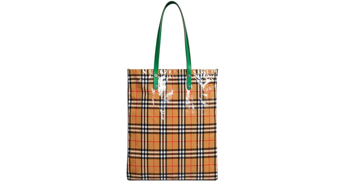 8db463b7ccdf Burberry - Green Large Coated Vintage Check Shopper - Lyst