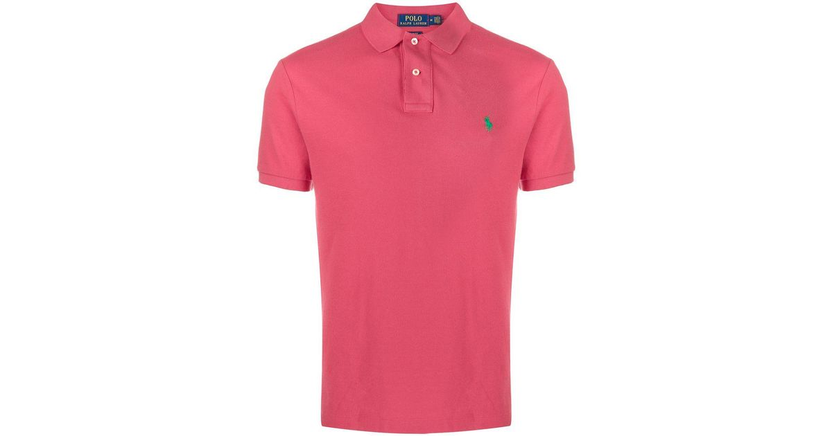 5ed5fd1c8 Lyst - Polo Ralph Lauren Logo Embroidered Polo Shirt in Pink for Men