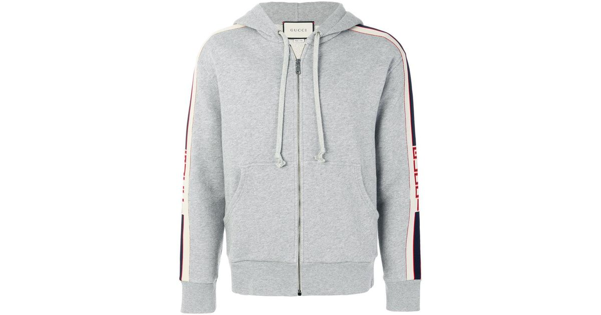 798df794a Gucci Banded Zip Hoodie in Gray for Men - Lyst