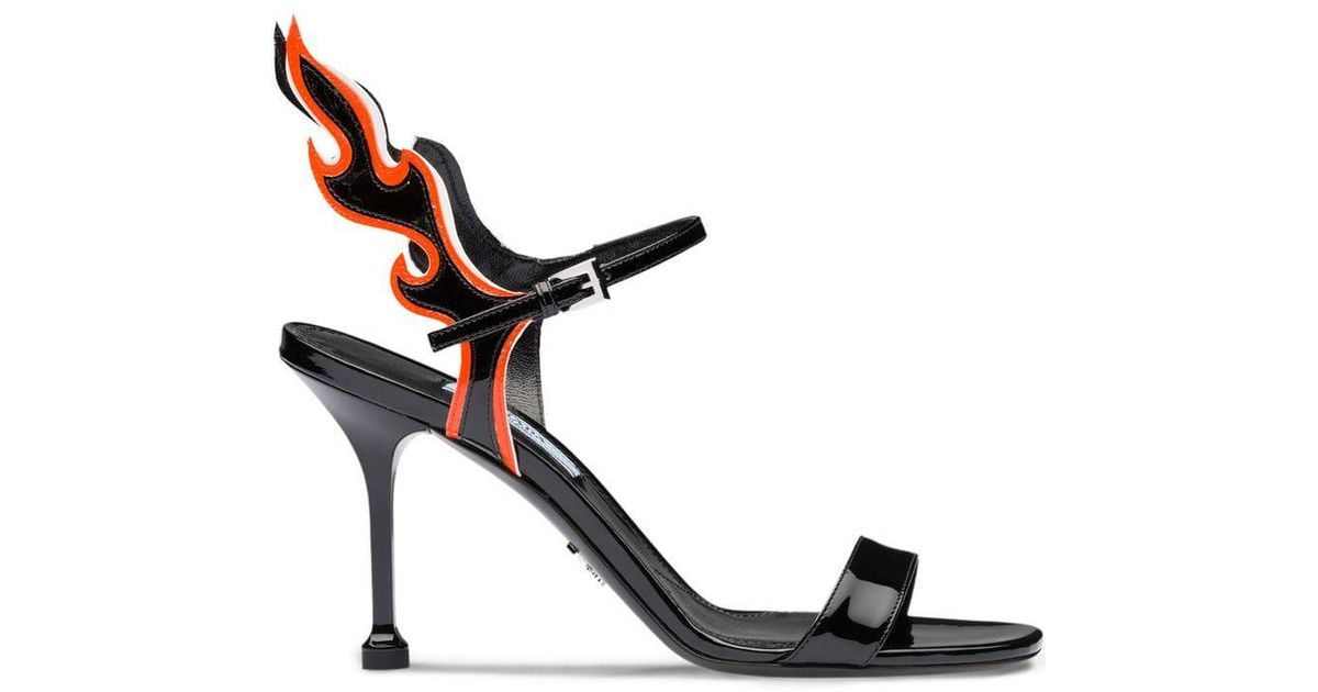 Prada Leather Flame Detail Sandals in