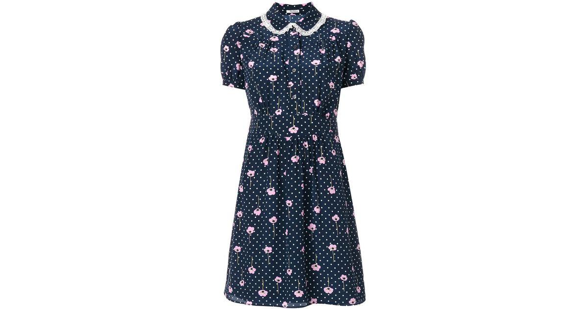 floral print polka-dot dress - Blue Miu Miu mHIBnoyi7