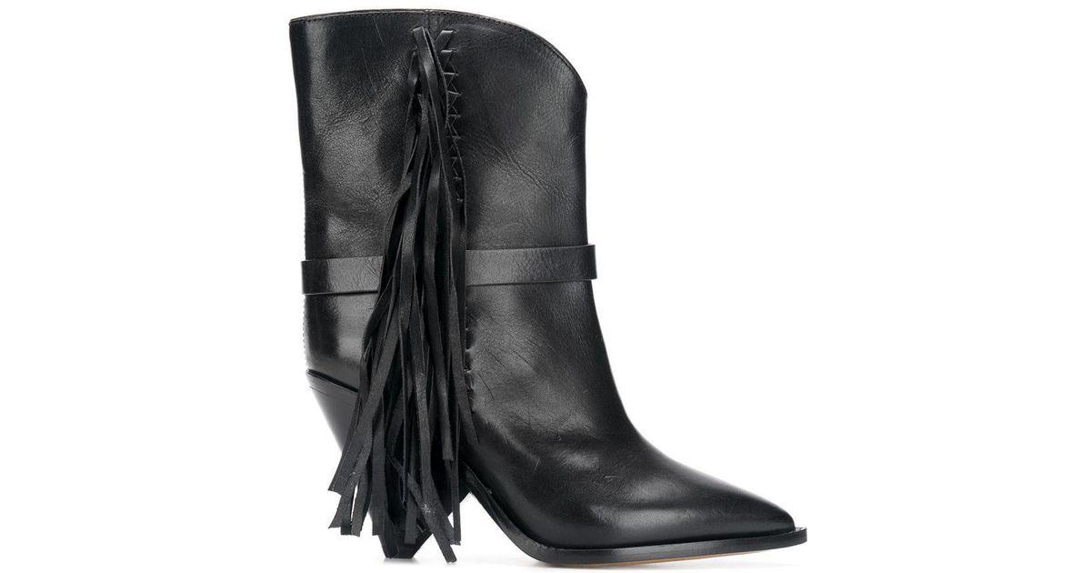 427da887552 Isabel Marant Black Tassel Detail Ankle Boots