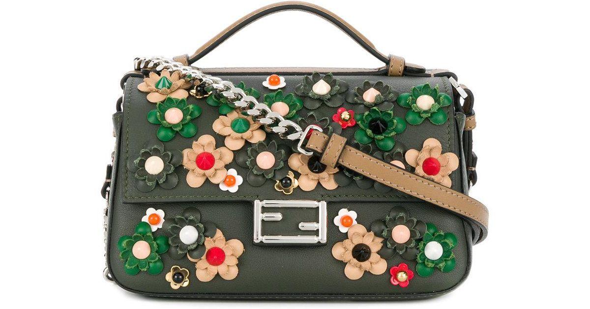 0747d60e51 Fendi Double Micro Baguette Crossbody Bag in Green - Lyst
