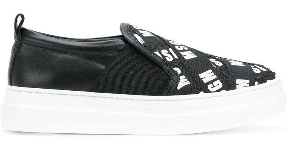 branded slip-on sneakers - Black Msgm bak0moU
