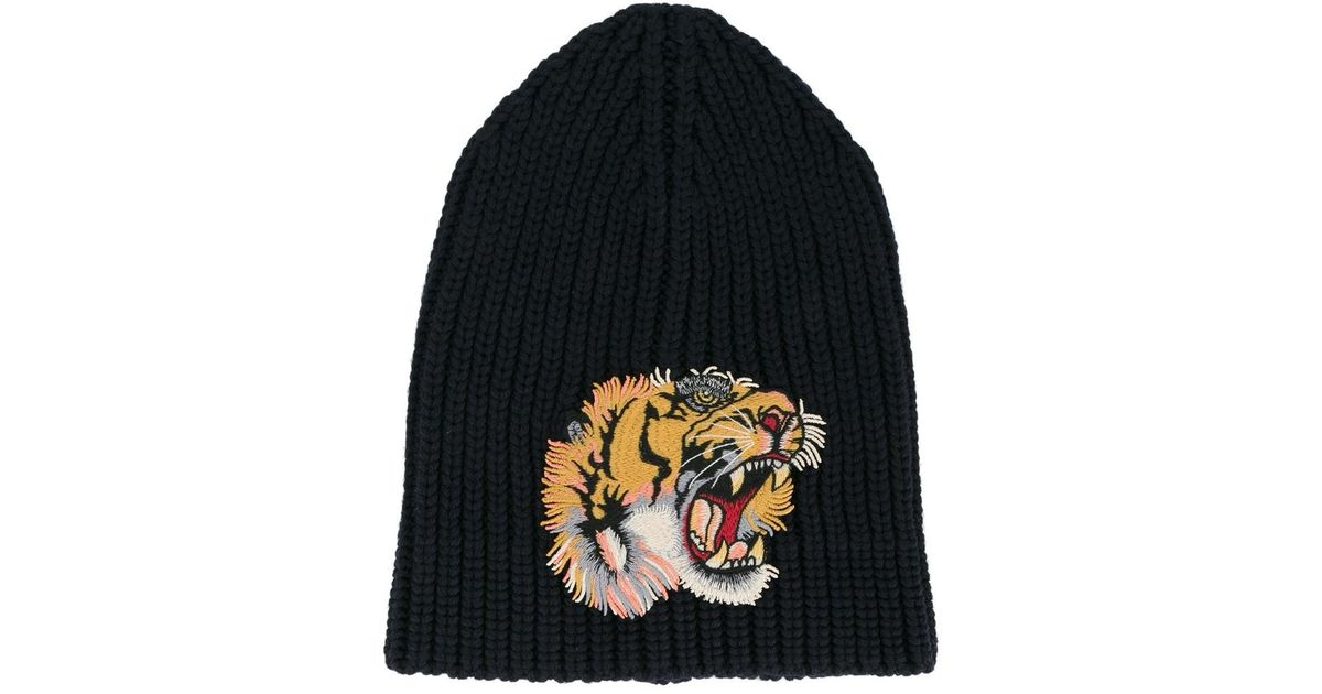 Lyst - Gucci Tiger Patch Beanie Hat in Blue for Men a70c95a0399