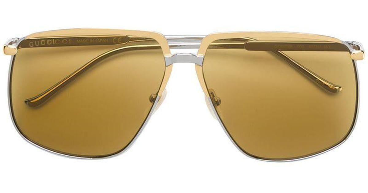 663c37de79 Lyst - Gucci Oversized Sunglasses in Metallic