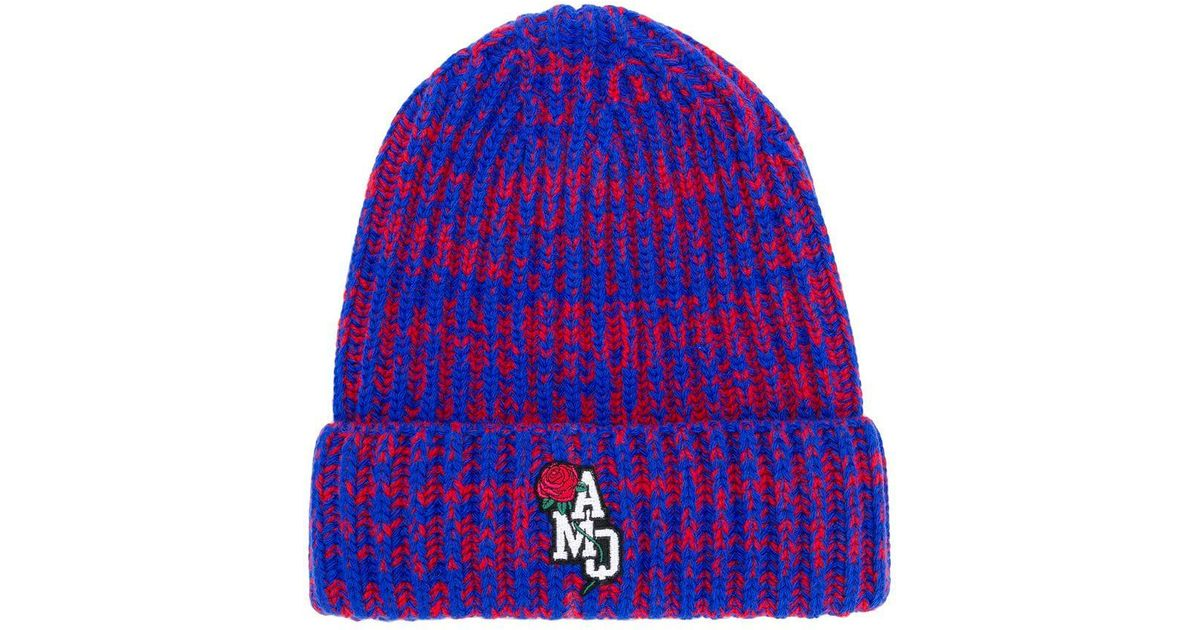 7eed9100e6c09a Lyst - Alexander McQueen Ribbed Logo Beanie in Blue for Men