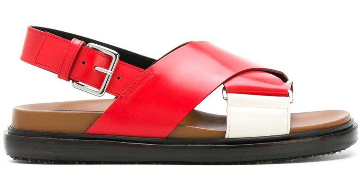 Marni Sillonnez Sandales Fussbett - Rouge 2pD2Ys