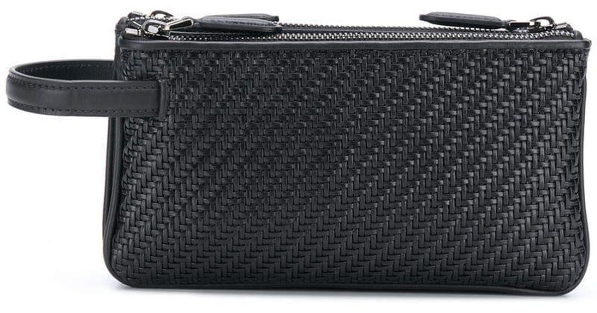 a1b6c0a675bc Lyst - Ermenegildo Zegna Pelle Tessuta Pouch Bag in Black for Men
