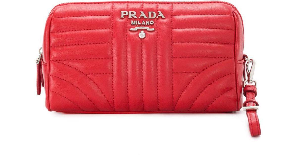 524fcec40a8907 Prada Matelassé Clutch Bag in Red - Lyst