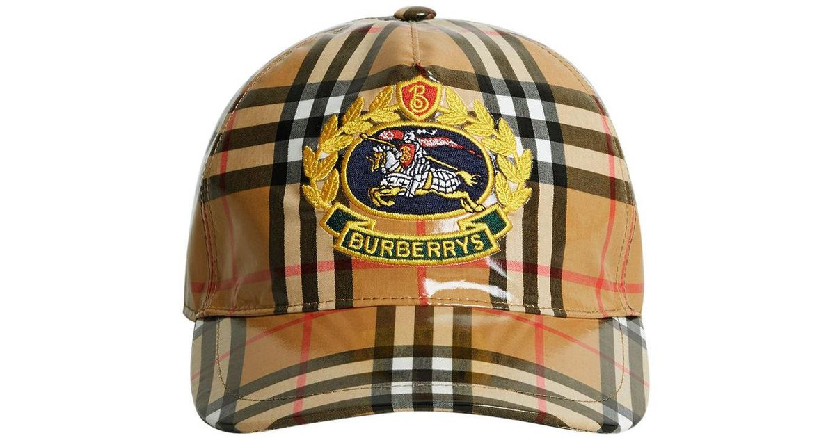 Lyst - Burberry Archive Logo Coated Vintage Check Baseball Cap in Brown for  Men 2ca3a0ea085