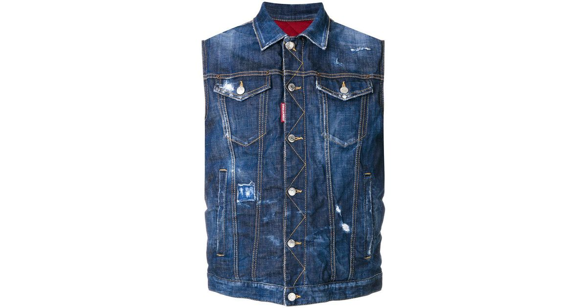 c65894469d14f3 DSquared² Distressed Sleeveless Denim Jacket in Blue for Men - Lyst