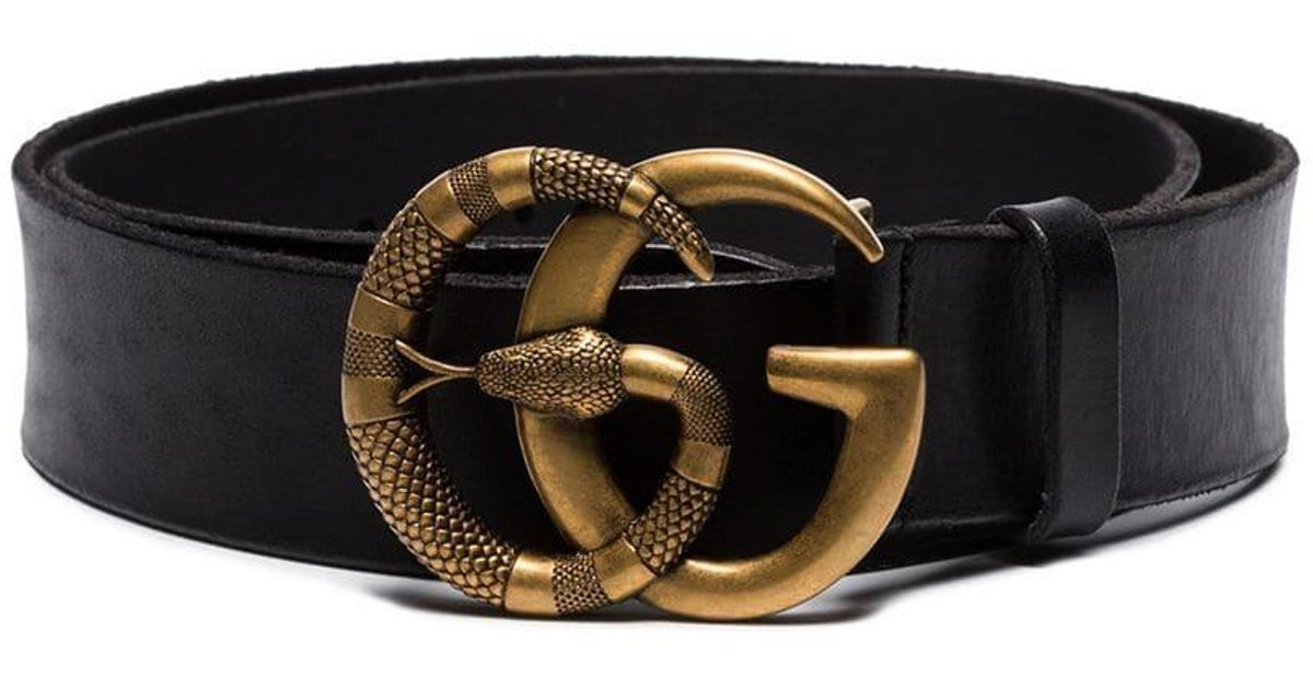 089fb9b8737 Lyst - Gucci Double G Snake Buckle Belt in Black for Men
