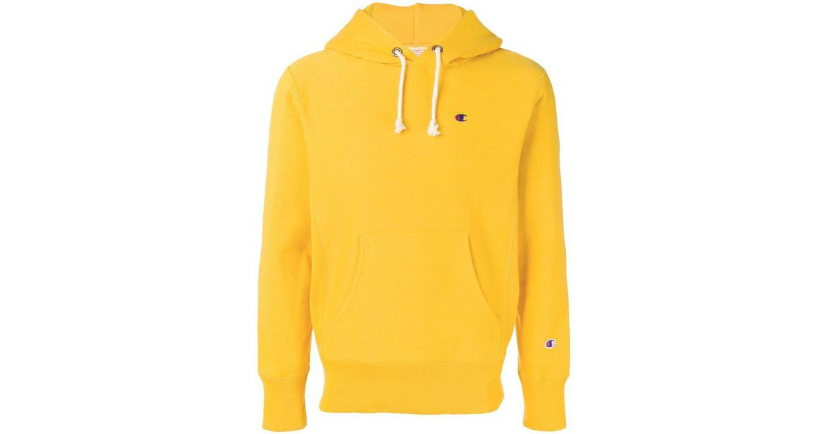 6711fb094171 Champion Contrast Logo Hoodie in Yellow for Men - Lyst