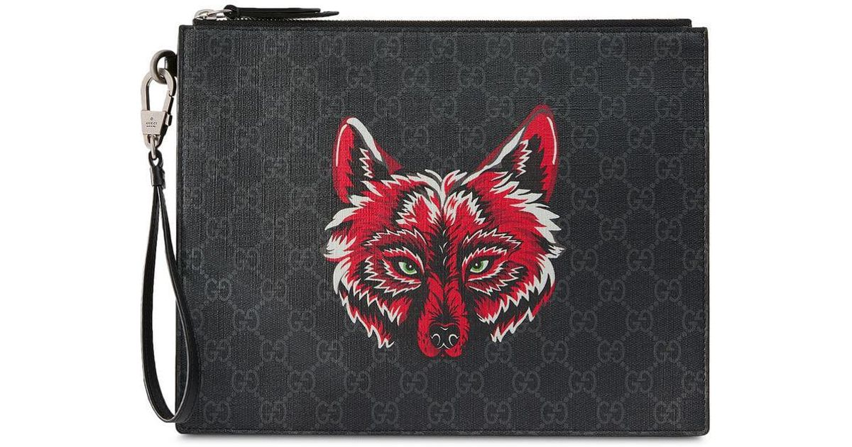 1e60cdbe1a8 Gucci Gg Supreme Pouch With Wolf in Black for Men - Lyst