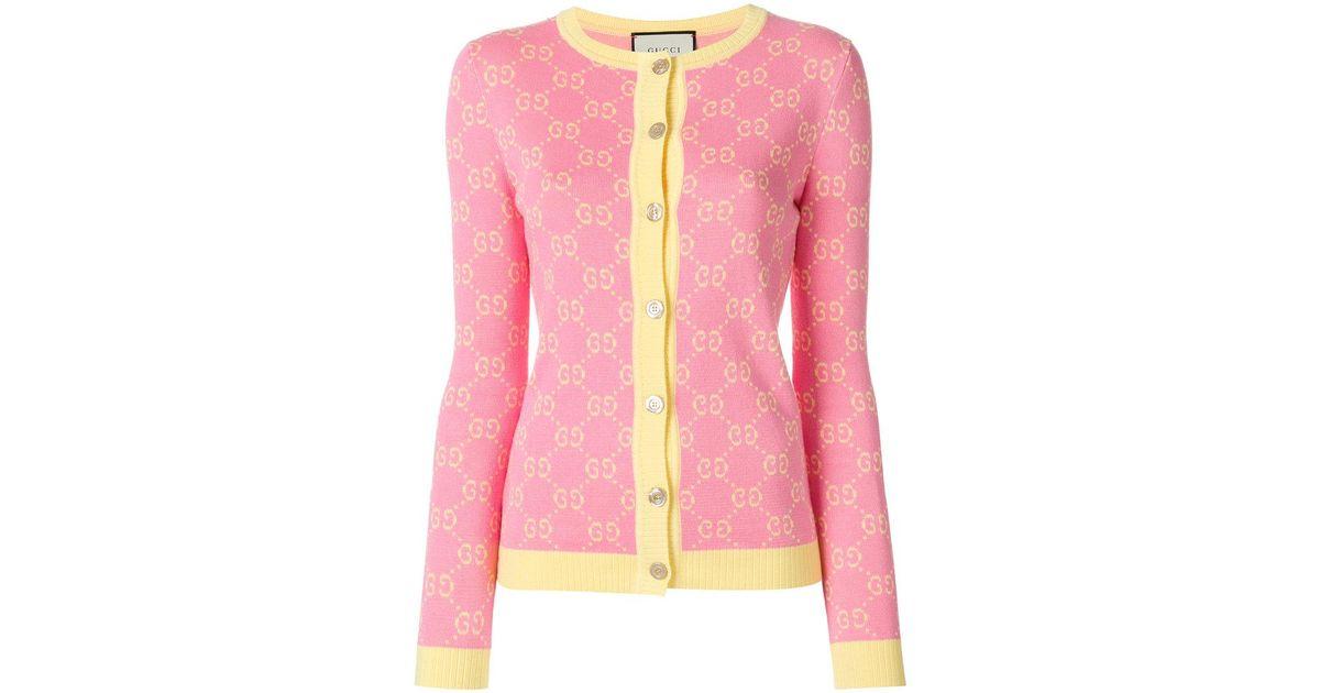 1946b265e9 Gucci Pink Gg Jacquard Wool Cardigan for men