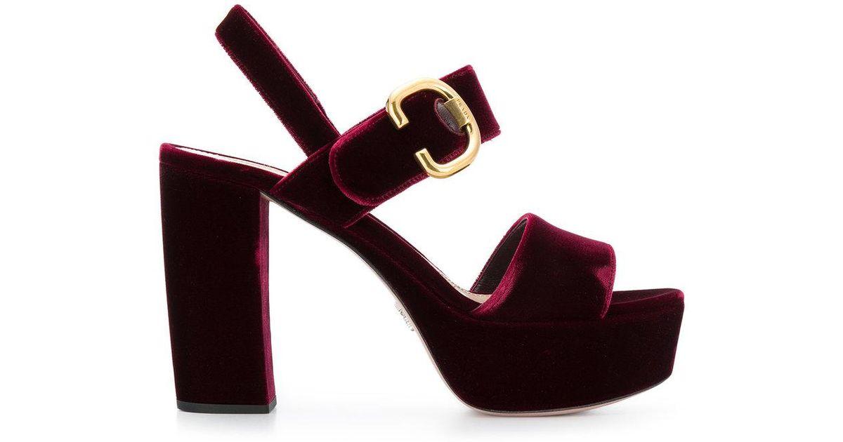 Prada Velvet Platform Sandals in Red - Lyst