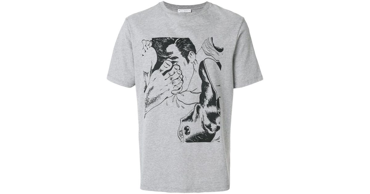 84336eb3 JW Anderson Footprint T-shirt in Gray for Men - Save 53% - Lyst