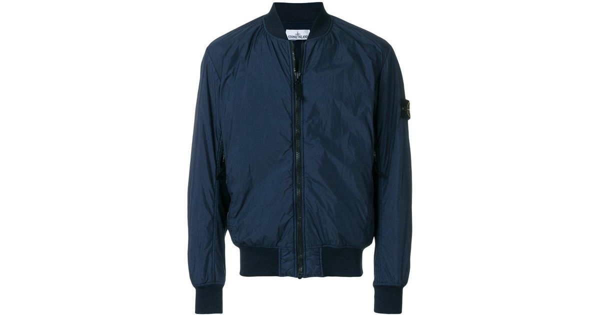 eb743a750 Stone Island Blue Garment Dyed Crinkle Reps Ny Bomber Jacket for men