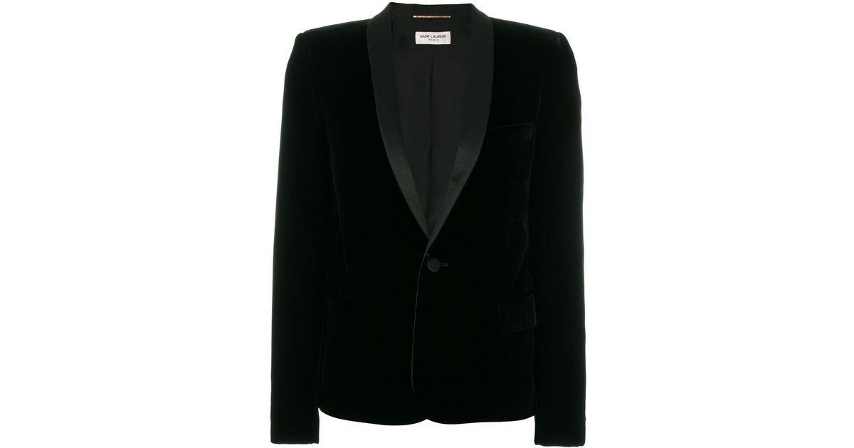 16fa871421 Saint Laurent Black Fitted Suit Jacket