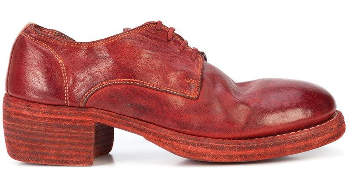 60f1a5ce1a1 Lyst - Guidi Chunky Heel Lace-up Shoes in Red