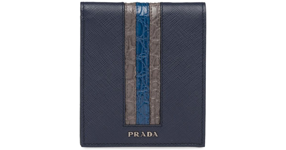 e9fbc0020db281 ... new zealand lyst prada saffiano foldover wallet in blue for men 46902  3793a