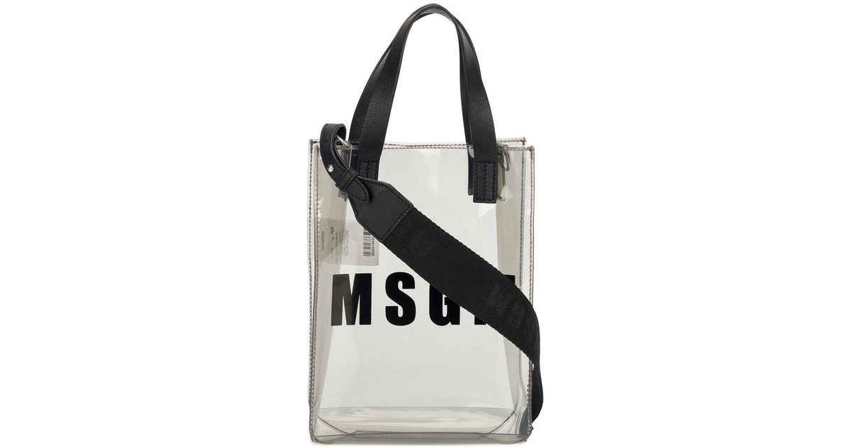 93488ca0a147 Lyst - MSGM Small Branded Tote Bag in Gray