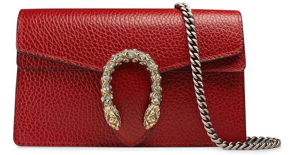 d4c5d6080dcb Gucci Dionysus Leather Super Mini Bag in Red - Lyst