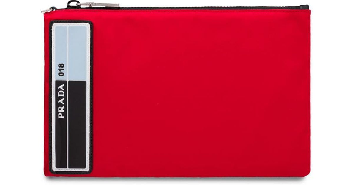 23b50817f981 Lyst - Prada Nylon Pouch With Leather Trim in Red for Men
