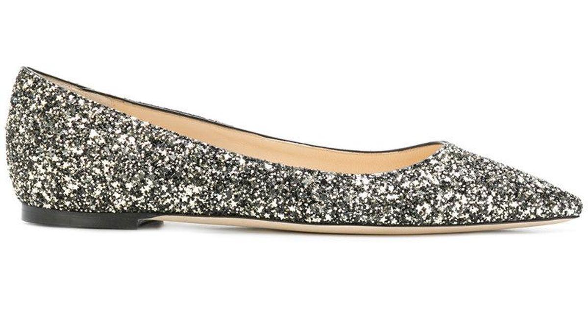 007b906d7f94 Jimmy Choo Romy Glittered Ballerina Flats in Black - Lyst