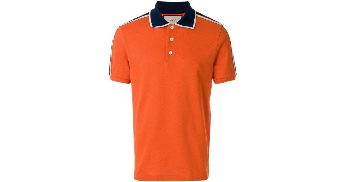 c2efd063c37 Lyst - Gucci Stripe Polo Shirt in Orange for Men