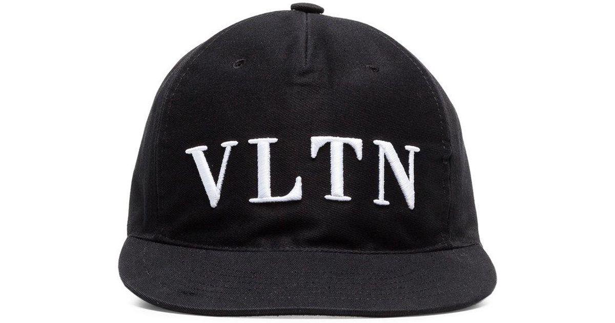 fddbd540b8d Lyst - Valentino Black Vltn Logo Baseball Cap in Black for Men