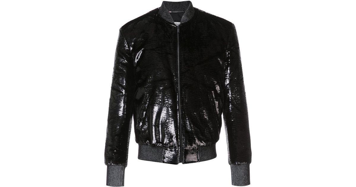 a5ff5e99f Saint Laurent - Black Shiny Bomber Jacket for Men - Lyst
