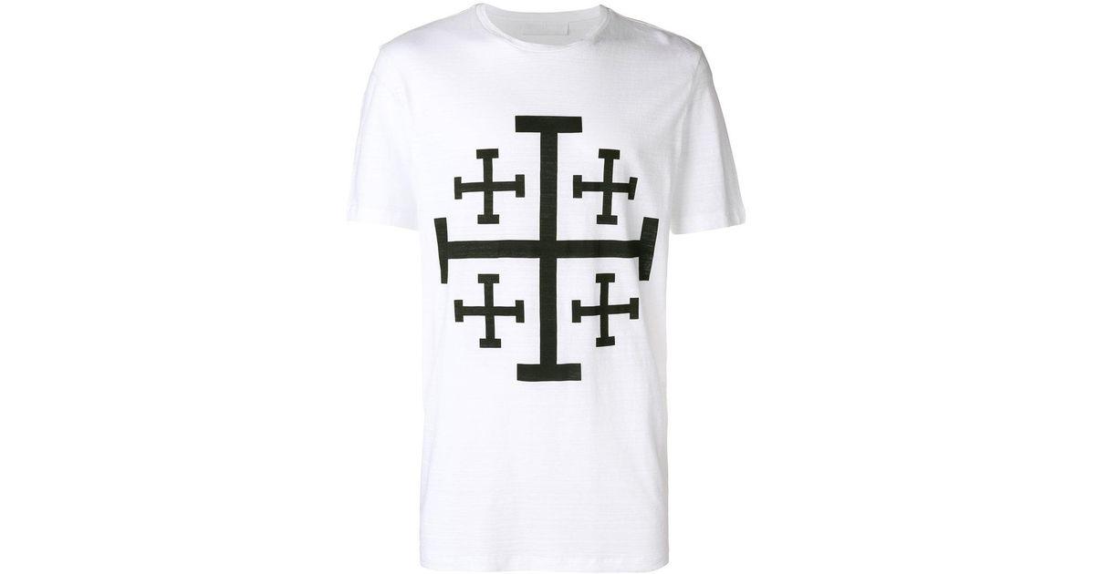 4ca9d1b6b Neil Barrett Cross Printed T-shirt in White for Men - Lyst
