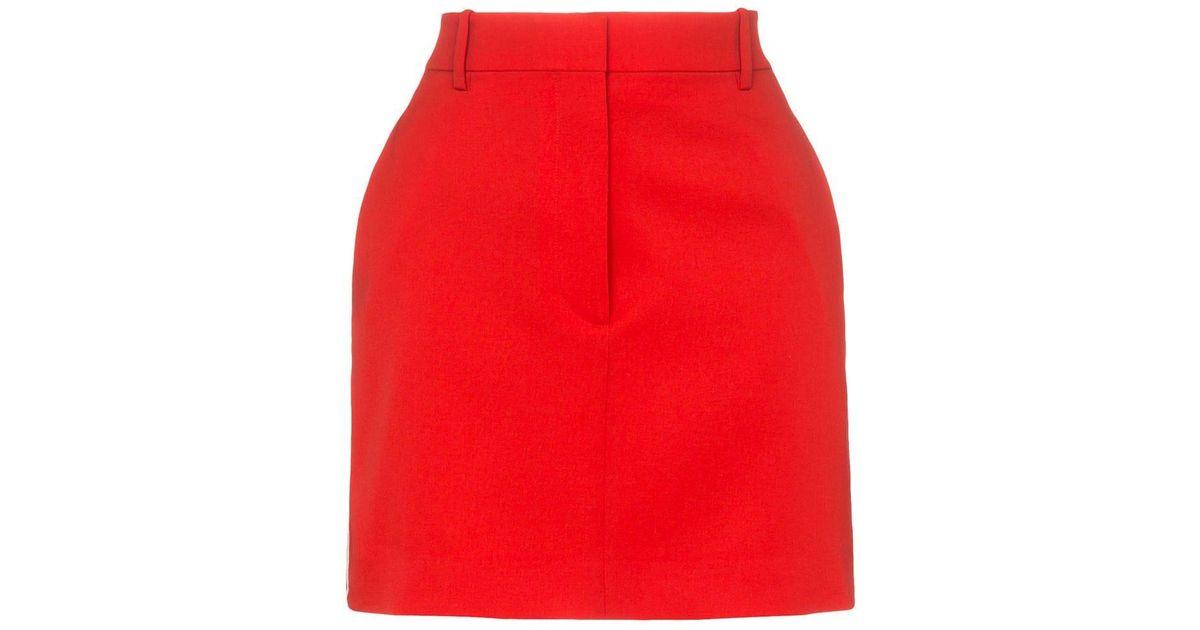 cfbee0a361 CALVIN KLEIN 205W39NYC Side Stripe Wool Mini Skirt in Red - Lyst